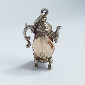 Vintage Nuvo Brown Crystal Coffee Pot Sterling Silver Charm