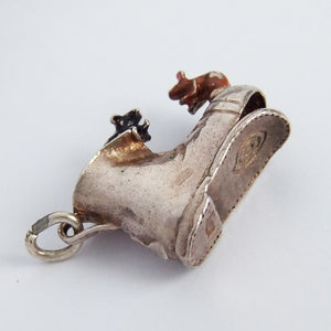 Nuvo mice in Boot silver enamel charm
