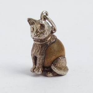 Vintage Nuvo Touch Wood Cat Sterling Silver Charm