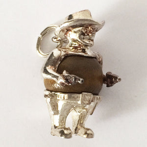 Nuvo Touch Wood Cowboy Charm Sterling Silver
