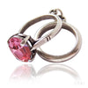Vintage Engagement Ring and Wedding Ring Charm with Pink Crystal