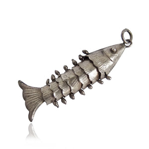 Vintage silver articulated fish charm