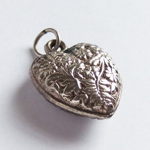 Vintage Silver Floral Heart with Flowers Charm