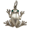 German Frog Charm 835 Silver with Green Crystal Eyes