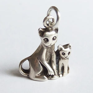 Vintage Cat and Kitten Sterling Silver Charm by Jezlaine