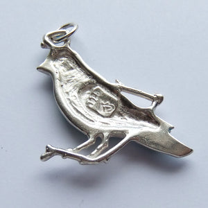 Sterling silver green enamel bird charm
