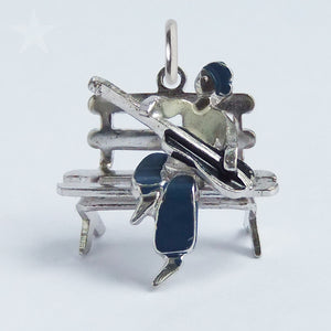 Vintage Enamel Guitar Player Sterling Silver Charm