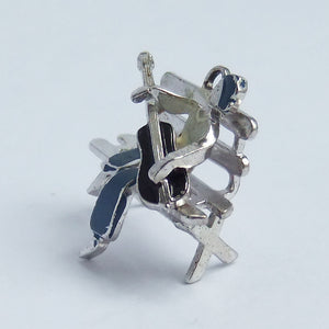 Vintage Man Playing Guitar Charm Sterling Silver Enamel