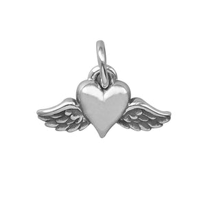 Winged Heart Charm Sterling Silver Pendant