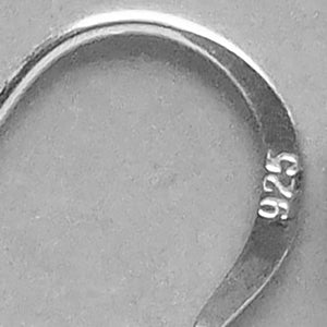 Sterling silver ear hook close up