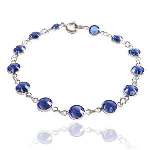 Jewelled Chain Bracelet with Swarovski Crystal 11 Colours