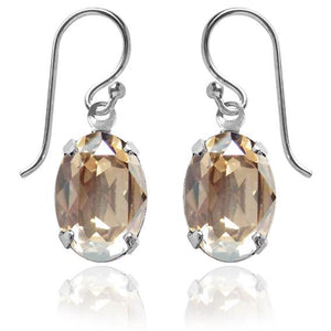 Oval Earrings with Swarovski Crystal | Choice of Colours