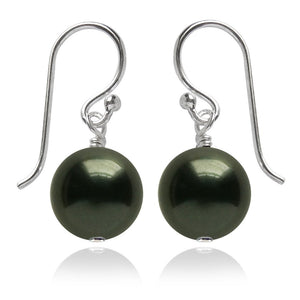 Dark Green Swarovski Crystal Pearl Earrings | Amanda Jo