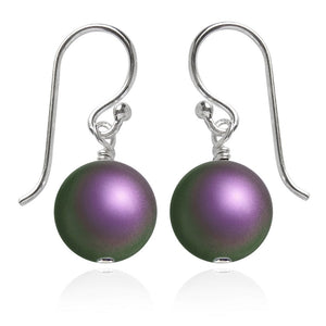Iridescent Purple Swarovski Crystal Pearl Earrings | Amanda Jo