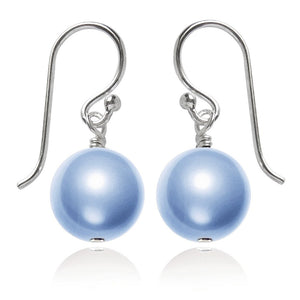 Light Blue Swarovski Crystal Pearl Earrings | Amanda Jo