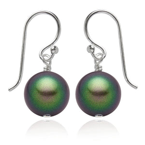 Scarabaeus Green Swarovski Crystal Pearl Earrings | Amanda Jo