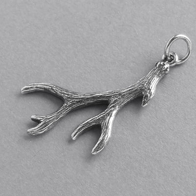 Deer Antler Charm Sterling Silver Pendant | Silver Star Charms