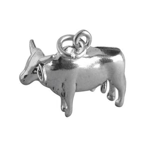 Brahman bull cattle charm 925 sterling silver animal cow pendant