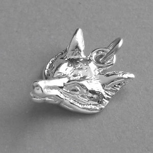 Fox Head Charm Sterling Silver or Gold Pendant | Charmarama