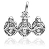 Three wise monkeys charm sterling silver 925 or gold pendant