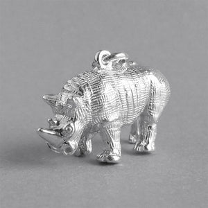 Rhinoceros Charm Sterling Silver or Gold Pendant | Silver Star Charms