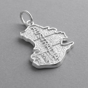 Australian map charm sterling silver or gold pendant