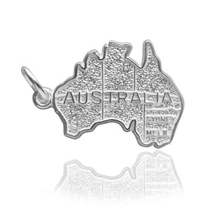Australia map charm sterling silver or gold pendant