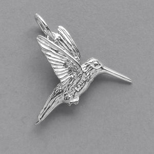 Hummingbird charm sterling silver 925 or gold bird pendant