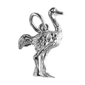 Ostrich charm sterling silver 925 or gold pendant