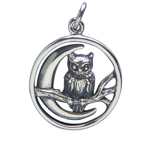 Owl and Moon Charm Sterling Silver Pendant | Silver Star Charms