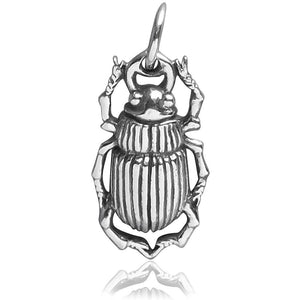 Beetle Charm Sterling Silver Insect Pendant | Charmarama