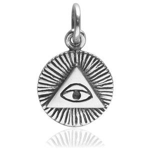 All Seeing Eye Charm Sterling Silver Pendant | Charmarama