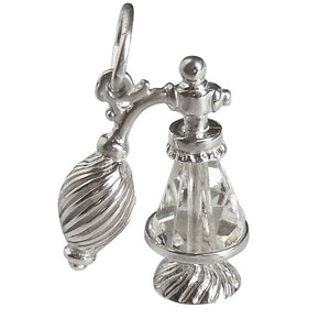 Perfume Atomiser Bottle Charm Pendant Sterling Silver Crystal