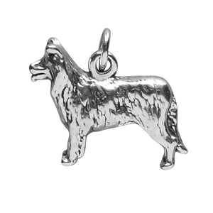 Border Collie Dog Charm Sterling Silver Pendant | Charmarama