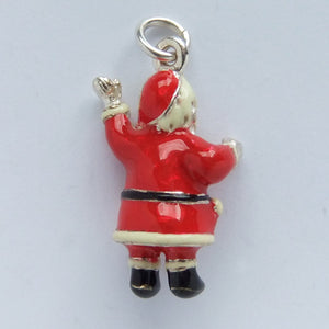 Sterling Silver and Red Enamel Father Christmas Charm | Silver Star Charms