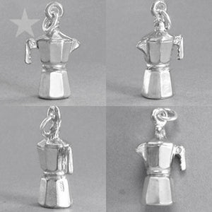 Sterling Silver Coffee Pot Charm | Silver Star Charms