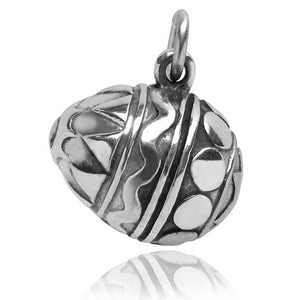 Easter egg charm sterling silver pendant | Silver Star Charms