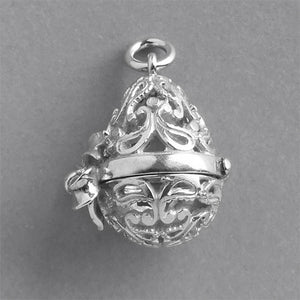 Filigree Easter Egg Charm Sterling Silver or Gold Pendant