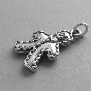 Gingerbread Man Charm Sterling Silver Food Pendant | Charmarama