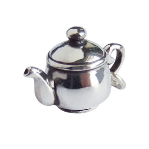 Traditional Teatime Teapot Charm Sterling Silver Pendant | Silver Star Charms