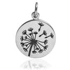 Dandelion Clock Charm Sterling Silver Flower Pendant | Silver Star Charms