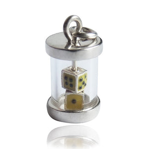 Lucky dice charm sterling silver pendant