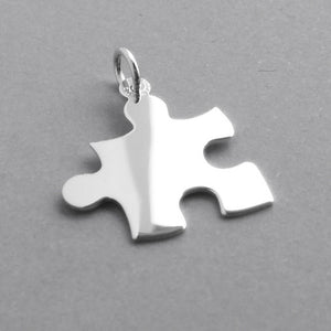 Jigsaw puzzle piece charm sterling silver 925 or gold pendant