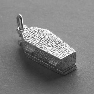 Coffin opening to skeleton charm sterling silver 925 or gold pendant