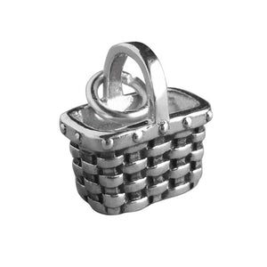 Sterling Silver Wicker Shopping Basket Charm