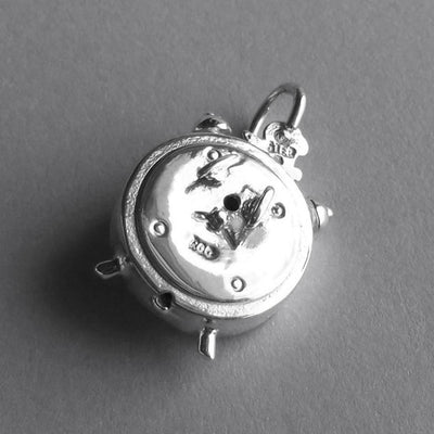 Alarm clock charm sterling silver 925 or gold silver star charms alarm clock charm sterling silver 925 or gold pendant aloadofball Images