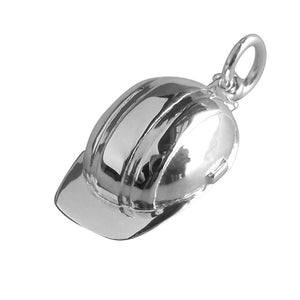 Construction hard hat safety helmet charm sterling silver or gold pendant