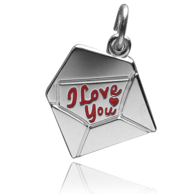 Love letter charm envelope with I love you note sterling silver 925 or gold pendant