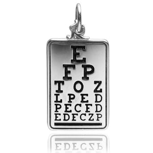 Optometry eye chart charm sterling silver 925 or gold pendant