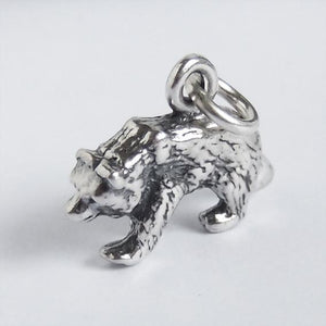 Sterling Silver Grizzly Bear Charm Pendant